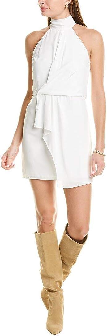 HALSTON Women's Sleeveless Mock High-Neck Dress with Drape Front Detail