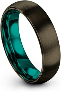Tungsten Carbide Wedding Band Ring 6mm for Men Women Green Red Blue Purple Black Gunmetal Copper Fuchsia Teal Interior with Dome Brushed Polished
