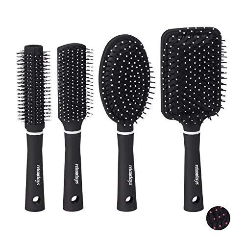 Relaxdays Haarbürste im 4er Set, mit Tasche für unterwegs, Kunststoffborsten, Rundbürste, Reisehaarbürste, schwarz/weiß