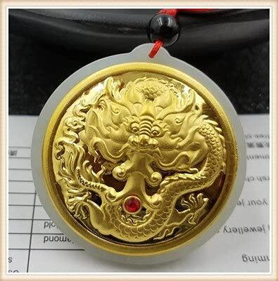 JIUXIAO Jade Hetian Natural con Incrustaciones de dragón Volador Colgante de Oro Collar Personalidad joyería Masculina Regalos