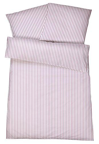 Mako-Perkal Bettwäsche 135 x 200 cm - Hochwertige gestreifte Bettbezüge aus 100{40e2f16a26de7ca47e0eece3de1b055f54d7462924a07acfe577c8ba4ec18a5d} feinster Baumwolle - Klassisch & Elegante bügelfreie Bettwaren-Garnitur - Made in Germany - Streifen 3 - Rosa