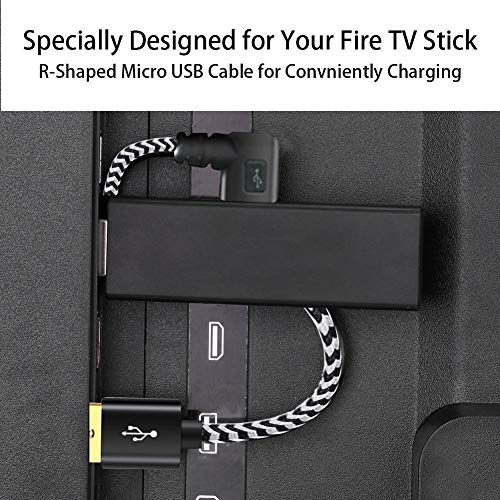 Oneme USB Power Cord for Fire Stick Power up Your Fire Stick Form Your TV's USB Port, USB Cable for Fire Stick, Chromecast, Roku Stick, 2 Pack 8 Inch (1 Straight 1 Angle)
