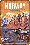 Blechschild, Motiv: Norwegen, die Lofoten Inseln,