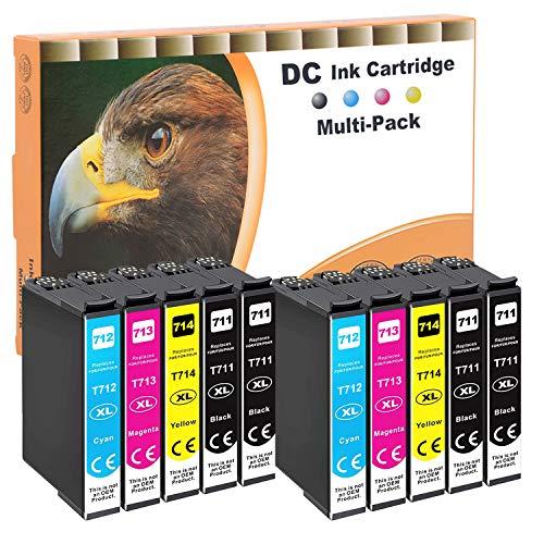 D&C 10x Cartuchos de tinta compatibles con Epson T0711 T0712 T0713 T0714 para Epson Office B40W BX-300F BX-310FN BX-510 W BX-600FW BX-610FW Stylus D120 D78 D92 DX-4000 DX-4050 DX-4400 DX-5000 DX-5050
