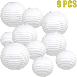 """YESON White Paper Lanterns Hanging Paper Lanterns for Party Decorations Supplies,8"""", 10"""", 12"""",Pack of 9"""