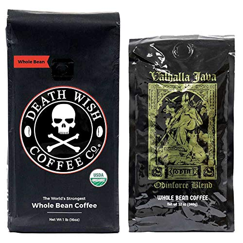 Death Wish & Valhalla Java Whole Bean Coffee Bundle Deal, USDA Certified Organic & Fair Trade (1 of Each Bag)
