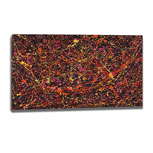 Jackson Pollock Abstract Estirado Giclee Cuadros Decoracion Salon-Cuadros Lienzos-Famosas Arte Fino Póster-Decoración de Pared-Listo...