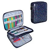 Teamoy Organizer Case for Interchangeable Circular Knitting Needles, Crochet Hooks and Knitting Accessories, Keep All in One Place and Easy to Carry, Colorful Dots (No Accessories Included)