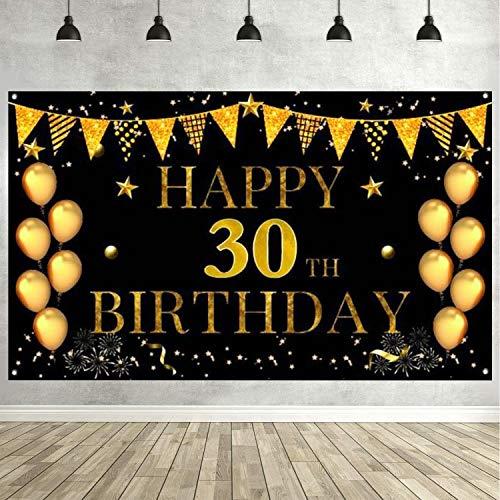 Decoración de Fiesta de 30 Cumpleaños Extra Grande Cartel Póster de Tela de 30 Años Fondo de Foto Props Pancarta de Fondo para 30 Cumpleaños Celebración Negro y Dorado 180cm*110cm (30 Años)