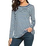 Reooly Haut rayé à Manches Longues, Femmes Manches Longues col Rond T-Shirt rayé Chemises Tunique Chemisier
