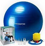 GYMBOPRO Ballon de Gymnastique, Balle de Fitness,Ballon d'exercice avec Pompe Rapide, Anti-éclatement et Anti-dérapant Yoga Ball (55 cm, Bleu)
