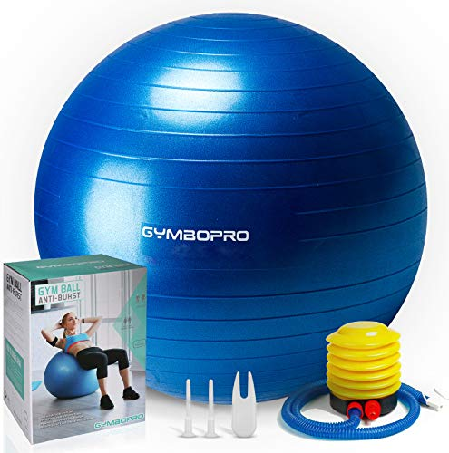 GYMBOPRO Fitness Pelota de Ejercicio,Bola de yoga antirrebote y antideslizante Bola de equilibrio para gimnasio Pilates Gimnasio de yoga (65 cm, Azul)