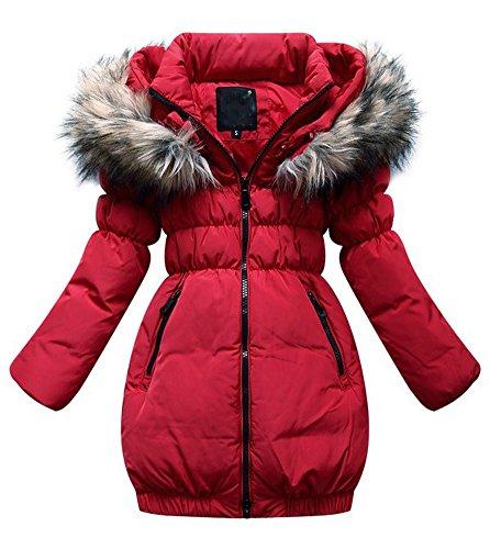 SMITHROAD Kinder Mädchen Winterjacke mit Kunstpelz Tailliert Lang Jacket Wintermantel Parka Oberbekleidung,Rot,EU 146,Herstellergröße 150