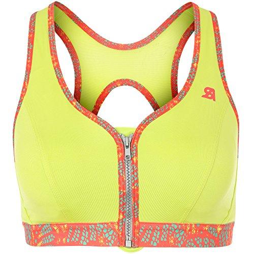 Shock Absorber Damen Active Front Zip Sport-BH, Lime/rot, 75D EU-34D US
