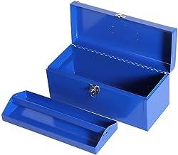 Gereedschapskist van metaal, gereedschapskist van staal met plat deksel met uitneembaar dienblad, draagbaar, blauw, voor h...