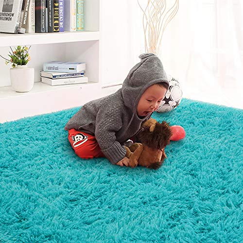Rostyle Super Soft Fluffy Area Rugs for Bedroom Living Room Shaggy Floor Carpets Shag Christmas Rug for Girls Boys Furry Home Decorative Rugs, 4 ft x 6 ft, Teal Blue