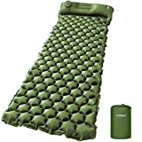 AirExpect Camping Sleeping Pads with Built-in Pump - Upgraded Inflatable Camping Pad with Pillow for Backpacking, Traveling,Durable Waterproof Compact Ultralight Hiking Pad