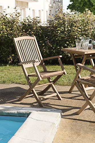MACABANE 500967 Lot de 2 fauteuils lombock Couleur Brut en Teck Dimension 55cm X 60cm X 99cm