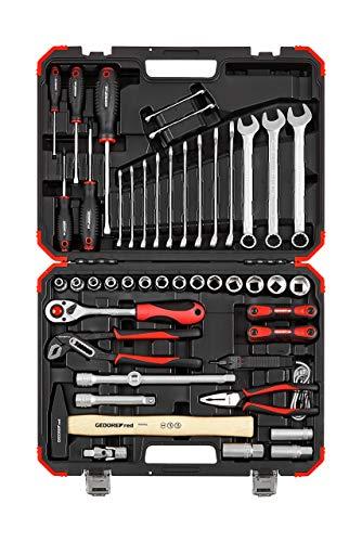 GEDORE red Steckschlüsselsatz, 61-teilig, Mit Knarre, Ringmaulschlüssel, Schraubendrehern, Steckschlüssel und Hammer