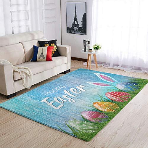 OwlOwlfan Easter Egg Rabbit Carpets Comfy Durable Carpets Floor Rug Mat for Indoor Outdoor Kids Baby's Room white 122x183cm