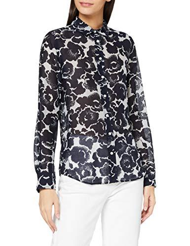 GANT Damen D1. Snow Blossom COT Silk Shirt Bluse, Evening Blue, 46