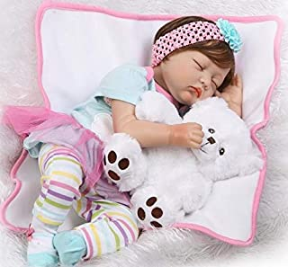 Pinky 55cm 22 inch Sleeping Soft Vinyl Silicone Doll True Looking Realistic Reborn Doll Baby Girl Eyes Closed Magnetic Mouth Dummy Xmas Gift