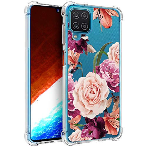 Osophter for Galaxy A12 Case Flower Floral for Girls Women Shock-Absorption Flexible TPU Rubber Phone Cover for Samsung Galaxy A12(Purple Flower)