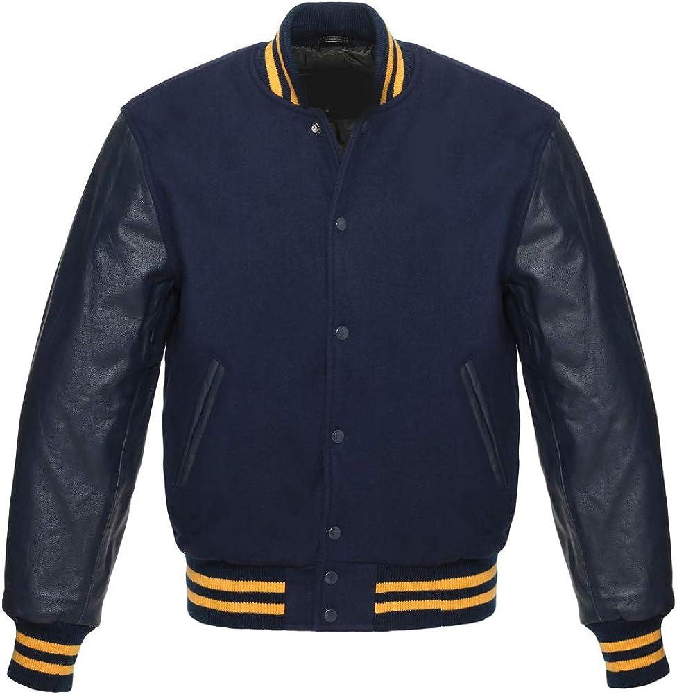 Varsity Letterman Baseball Bomber Retro Vintage Jacket Navy Wool Black Genuine Leather Sleeves