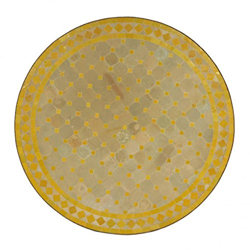 Casa Moro Mediterraner Gartentisch marokkanischer Mosaiktisch Ø 80cm groß rund gelb terrakotta mit Gestell H 73cm Kunsthandwerk aus Marrakesch Dekorativer Balkontisch Bistrotisch Esstisch | MT3091