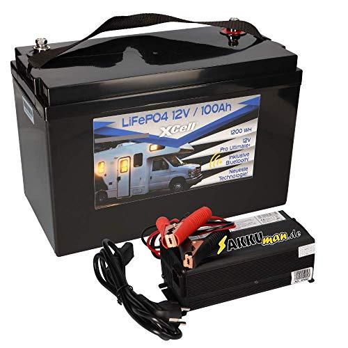 Set LiFePO4 Akku 12V (12,8V) 100Ah Bluetooth Pro Ultimate + Ladegerät 20A für Wohnmobil Caravan Solar Boot