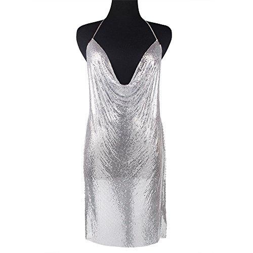 Collares largos de Lariat para mujer, cadena de vestido largo, cadena de fiesta, ropa interior, sexy, exagerada, cadena de aleación de aluminio, accesorios de barra