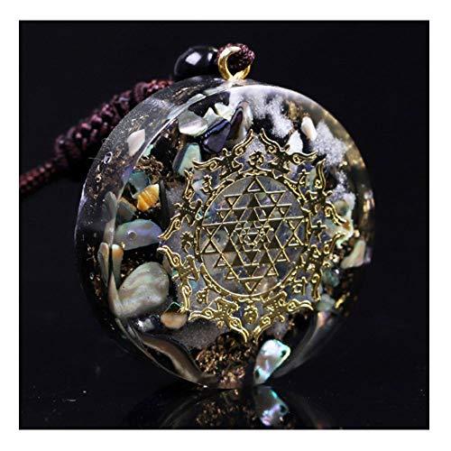 NKIE Simple y Elegante Colgantes de Cristal, cáscara Natural Amuleto reparando Pendientes de Cristal, Colgante de Piedra Luminosa, joyería Unisex Adecuada para Bodas, aproximadament