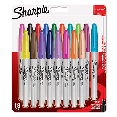 Sharpie - Rotuladores permanentes, punta fina, colores surtidos fantasía, paquete de 18