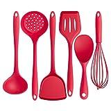 De silicona utensilios de cocina Set Juego de utensilios de cocina de silicona de 6 piezas, alta resistencia al calor hasta 446 ° F Utensilios de cocina de diseño higiénico de una pieza Negro Rojo par
