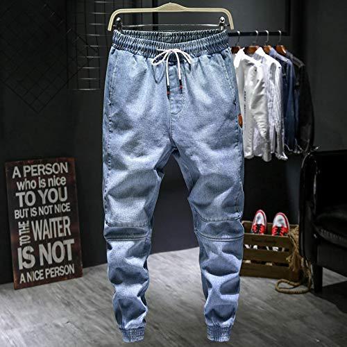 Vaqueros de Moda clásica Otoño Nuevos Pantalones Vaqueros Harem Azul Claro para Hombre De Talla Grande Pantalones De Mez