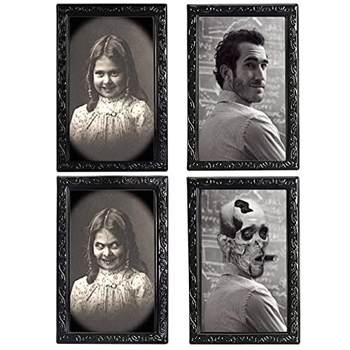 Babioms Imagen Fantasma 3D Marco Horror Foto - Marco De Fotos Horror Fantasma - Morphing Cara Zombie Vampiro Tema,Fiesta De Halloween Decoración del Hogar Imagen De Pared Embrujada Espeluznante - 2PCS
