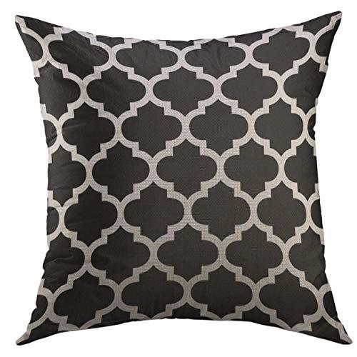 Harry wang Housse de taie d'oreiller décoratif pour canapé-lit Home Decor, taie d'oreiller en Treillis Noir trépan marocain Moderne et coloré h \ w: 18in * 18in