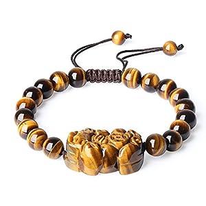 COAI Good Fortune Pixiu Tiger's Eye Beaded Bracelet for Women Men 8mm