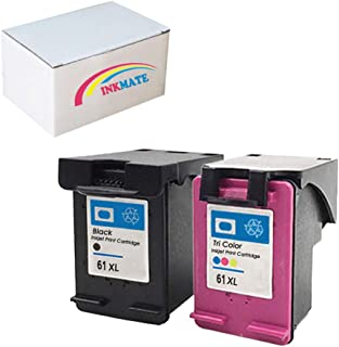 INKMATE Re-Manufactured Ink Cartridge Replacement for HP 61XL for HP Envy 4500 5530 5534 4500 4501 1Black/1Color,2Pack