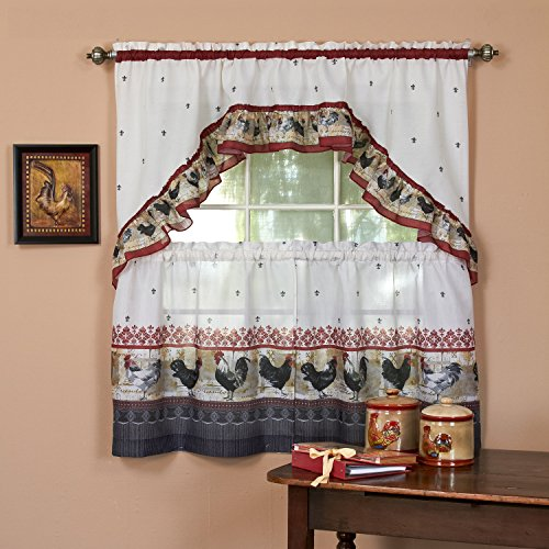 """Sweet Home Collection 3 Piece Kitchen Curtain Set Classic Design with Tier Pair and Swag, 36"""", Rooster"""