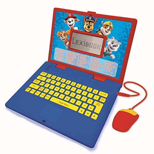LEXIBOOK- Paw Patrol - Ordenador portátil Educativo y bilingüe español/inglés - Juguete para niños con 124 Actividades para Aprender, Juegos y música con Chase y Marshal - Azul/Rojo