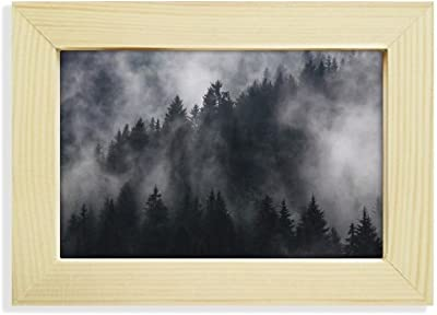 DIYthinker Dark Forest Mountain Fog Mist Desktop Wooden Photo Frame Picture Art Painting 5x7 inch