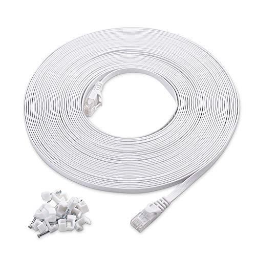 Cable Matters Cat6 LANケーブル ウルトラフラット LANケーブル 15m ギガビット 最大550 MHz ホワイト ケーブルステップル付属