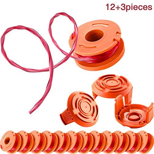 12 Stücke Trimmer Spule Ersatz Spool Linie für Trimmer und 3 Stücke Trimmer Spool Cap Edger Spool Cap, Kompatibel mit Worx WG180 WG163 WA0010