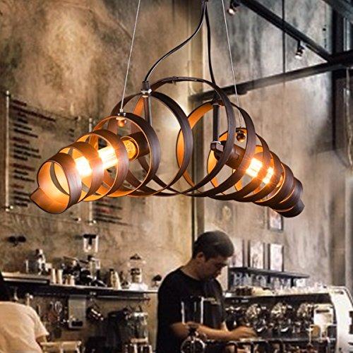 KJLARS Retro Pendelleuchte Vintage Kronleuchter Spiralelampe Hängelampe Pendellampe lampeleuchte Eisen-Lampe Industrielampe Hängeleuchte