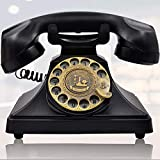IRISVO Rotary Dial Telephone Retro Old Fashioned Landline Phones with Classic Metal Bell,Corded Phone with Speaker and Redial Function for Home and Decor(Classic Black)