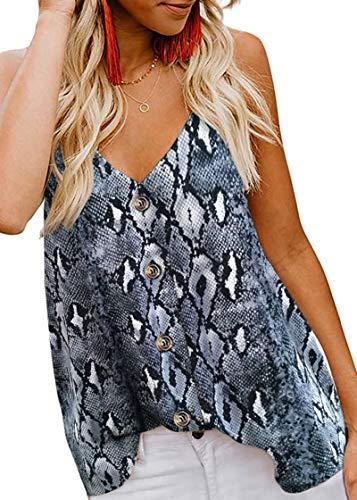 MOLERANI Blusas sin Mangas con Tirantes y Cuello en V con Botones para Mujer, Blusas Sueltas y Casuales sin Mangas (S, Estampado de Serpiente Gris)