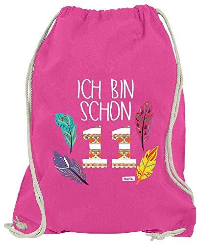 HARIZ Turnbeutel Ich Bin Schon Elf Indianer 11 Geburtstag Zahlen Inkl. Geschenk Karte Pink One Size