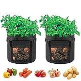 Singpad Potato Grow Bags,2-Pack 7 Gallon Garden Vegetables Planter Bags for Growing Potatoes,Taro,Radish,Carrots,Onions