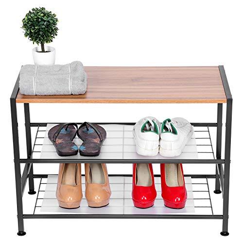 Ausla Zapatero de 3 niveles, organizador de almacenamiento para zapatos, ligero, compacto para el hogar, sala de estar, dormitorio, entrada, pasillo, 24 x 11.8 x 17.7 pulgadas